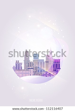 New York city illustration in a glass ball - stock vector