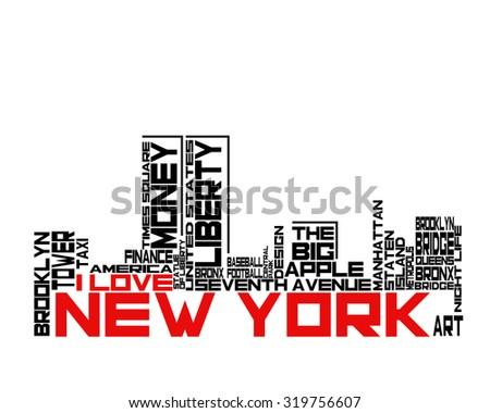 New York City. NYC. Vintage artwork. T-shirt design. I love New York typography. Creative poster design. - stock vector