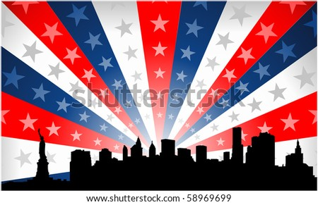 New York City patriotic background - stock vector
