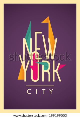 New York City poster with typography. Vector illustration. - stock vector