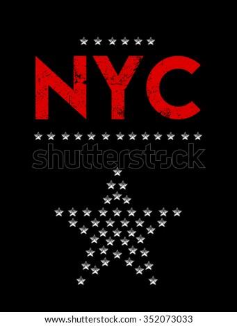 New york city print in vector - stock vector