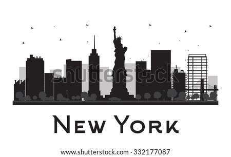 New York City skyline black and white silhouette. Vector illustration. Concept for tourism presentation, banner, placard or web site. Business travel concept. Cityscape with famous landmarks - stock vector