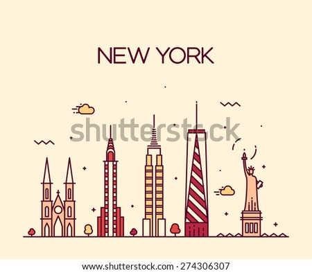 New York City skyline detailed silhouette. Trendy vector illustration, line art style. - stock vector