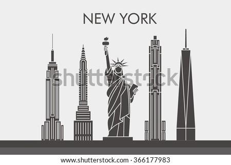 New York City Skyline Line Art Design Concept With Typographic. Vector Illustration - stock vector