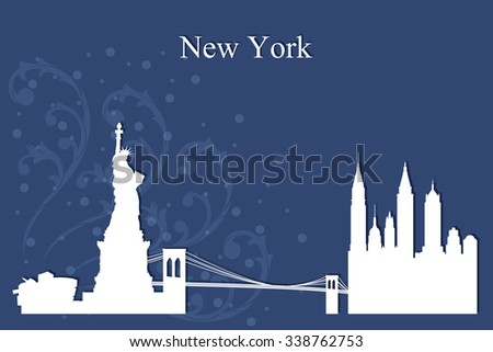 New York city skyline silhouette on blue background, vector illustration - stock vector