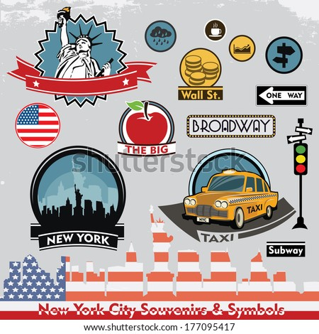 New York city souvenirs and symbols. Vector set of stickers and icons - stock vector