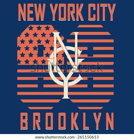 New York City Sport Typography Graphics Label. T-shirt Printing Design, Brooklyn original wear - vector illustration - stock vector