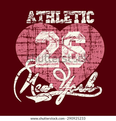 New York City Typography Graphics, girls T-shirt grunge Printing Design; NYC original wear, Vintage Print for sportswear apparel - vector illustration - stock vector