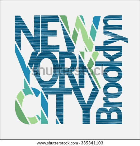 New York City Typography Graphics. Mans T-shirt Printing Design. NY Brooklyn original wear. Fashion Design Print for sportswear apparel. Concept in vintage style for different print production. Vector - stock vector