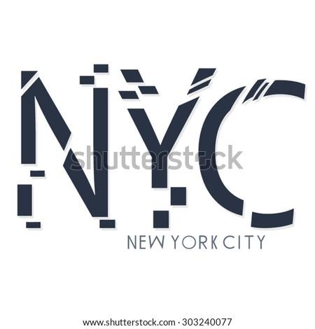 New York City typography, t-shirt graphics, vectors - stock vector