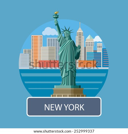 New york cityscape. Manhattan Skyline and Statue of Liberty, New York City. Poster concept in cartoon style with text - stock vector