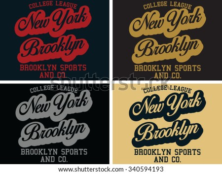 New York college vector print and varsity. For t-shirt or other uses in vector. - stock vector