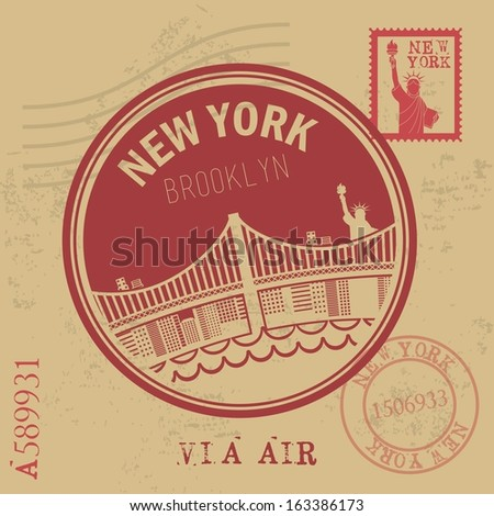 new york design over vintage background vector illustration - stock vector