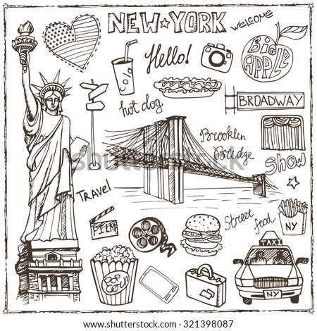 New York Doodle set.American,USA  travel symbols in hand drawn sketch.Vector icons,sign of landmark,Statute of liberty,food,lettering,retro Illustration,background.Vintage Outline design template. - stock vector