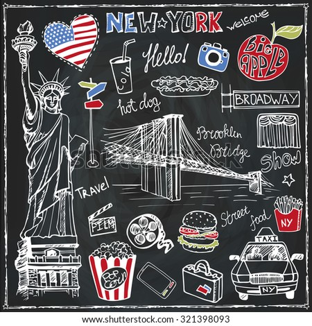 New York Doodle set.American,USA travel symbols in hand drawn sketch.Vector icons,sign of landmark,Statute of liberty,food,lettering,retro Illustration,Chalkboard background.Outline design template. - stock vector