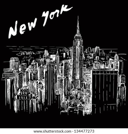 New York - hand drawn illustration - stock vector