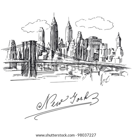 new york - hand drawn metropolis - stock vector