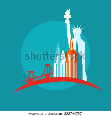 new york icon flat - stock vector