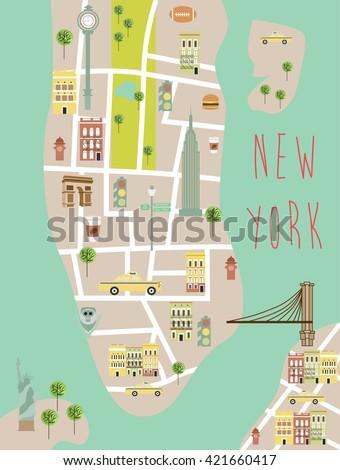 New York illustration map - stock vector