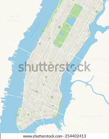 New York Map - Lower and Mid Manhattan - stock vector