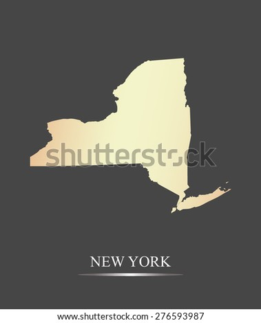 New York map outlines in an abstract grey background, a black and white map of State of New York in USA - stock vector