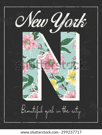 New York print with flower and slogan.For t-shirt or other uses,in vector. - stock vector