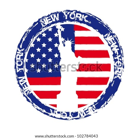 new york seal with statue of liberty isolated. vector illustration - stock vector