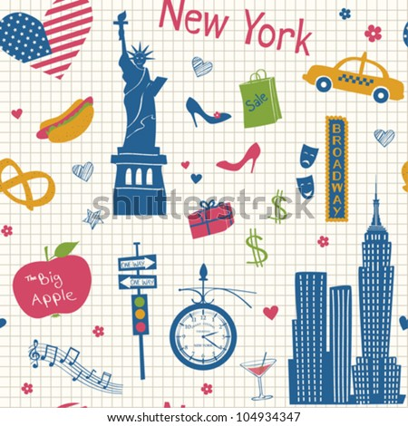 New York seamless background - stock vector