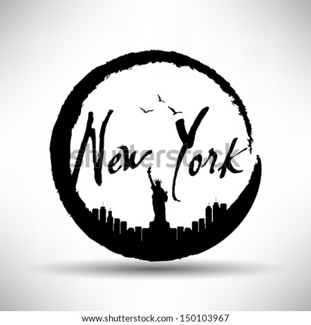 New York Silhouette with Circle Brush Stain - stock vector