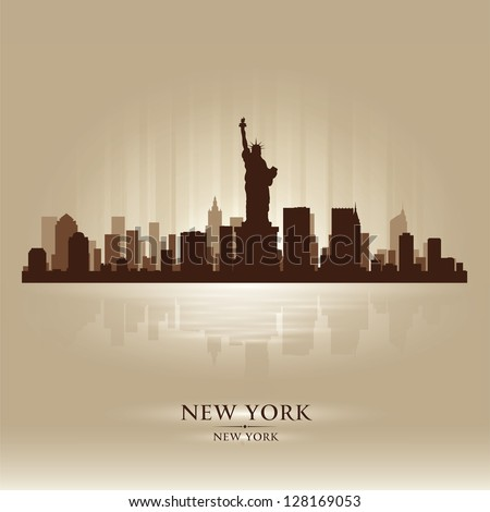 New York skyline city silhouette - stock vector