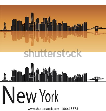 New York skyline in orange background in editable vector file - stock vector