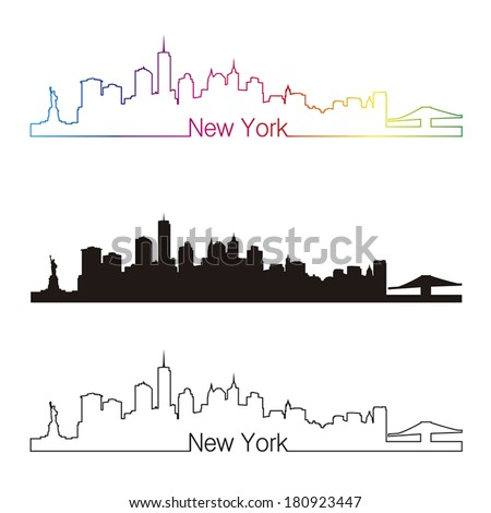 New York skyline linear style with rainbow in editable vector file - stock vector