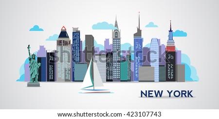 New York skyline. Vector - stock vector