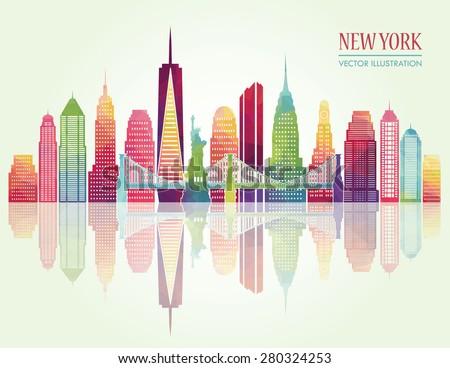 New York skyline. Vector illustration - stock vector