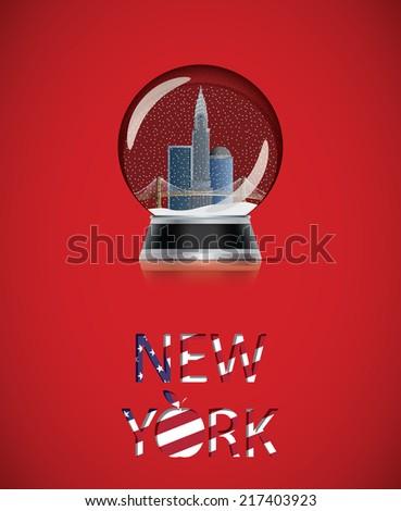New York snow globe - stock vector