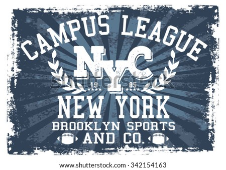 New York Sports vector print and varsity. For t-shirt or other uses in vector. - stock vector