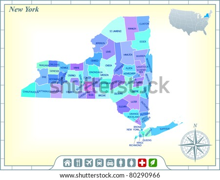 New York State Map with Community Assistance and Activates Icons Original Illustration - stock vector