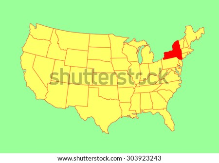 New York State, USA, vector map isolated on United states map. Editable blank vector map of USA. - stock vector
