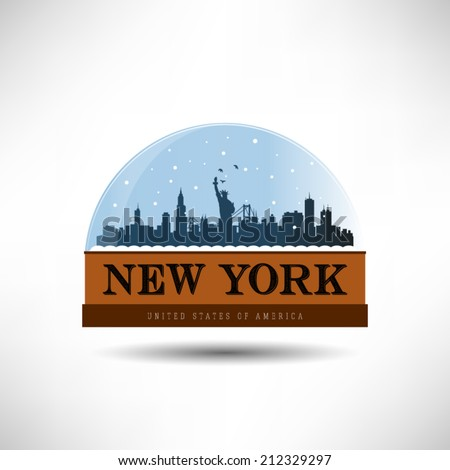 New York, United States of America city skyline silhouette in snow globe. Vector design. - stock vector
