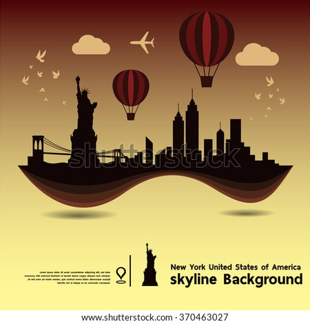 New York, United States of America, skyline background and  travel destination, vector Illustration - stock vector