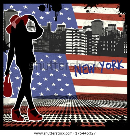 New York vintage grunge poster, vector illustration - stock vector
