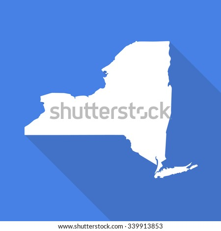New York white map,border flat simple style with long shadow on blue background - stock vector