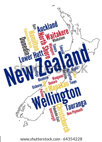 New Zealand map and words cloud with larger cities - stock vector