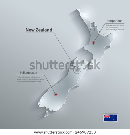 New Zealand map flag glass card paper 3D vector - stock vector