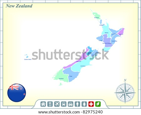 New Zealand Map with Flag Buttons and Assistance & Activates Icons Original Illustration - stock vector