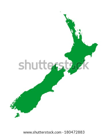 New Zealand vector map high detailed, isolated on white background.  - stock vector