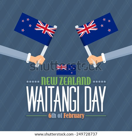 New Zealand Waitangi Day Theme, National Celebration Card, Hands hold Flags Flat Background, Badges Vector Design - stock vector