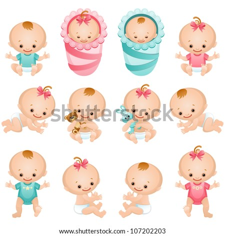 newborn baby icon set - stock vector