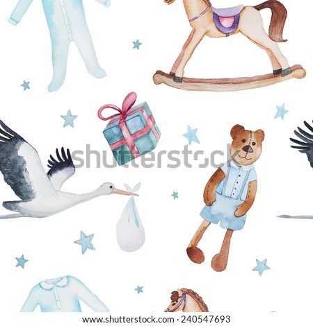 Newborn baby pattern. Watercolor hand drawn seamless texture with Teddy bear, gift box, stork with baby, rocking horse, bodysuit and stars. White vintage background - stock vector
