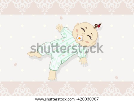 Newborn baby. The vector illustration of the Newborn baby with Pacifier - Design Greeting Card, Invitation.  - stock vector